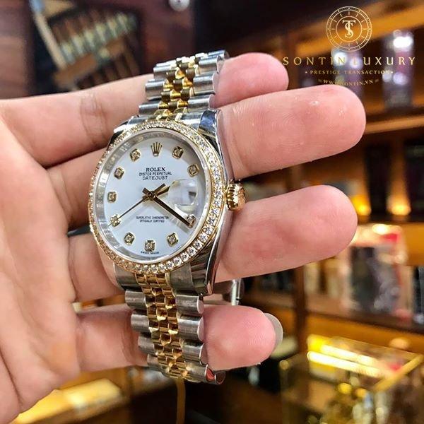 Rolex Datejust 116243 Demi Gold Bezel Diamond