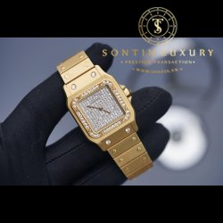 Cartier Santos Full Gold Diamond 30*40mm